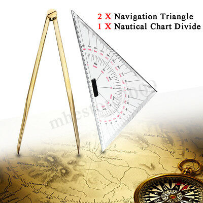 2X Navigation Triangular Protractor + Nautical Chart Divider Measuring Tool