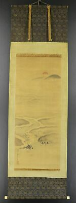 """JAPANESE HANGING SCROLL ART Painting Scenery """"River"""" Asian antique  #E9122"""