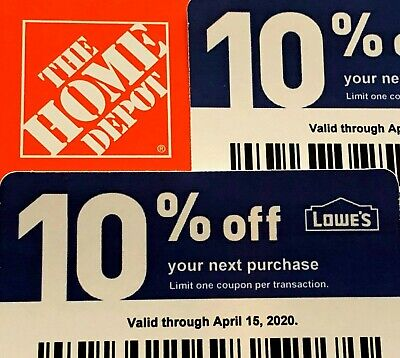 2 10% Off Home Depot Vouchers Exp Aug 15, 2020 Menards Lowes Original Fast Ship