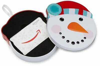 Amazon.com Gift Card in Snow Man Tin  -  $25 $50 $60 $75 $100 FAST DELIVERY