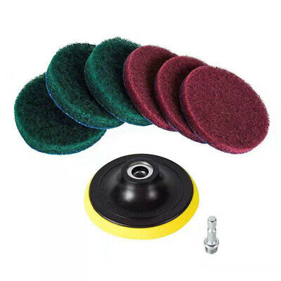 6pcs Scouring Pad +Polished Plate & Mandrel 1/4 Hex Shank For Cleaning Surfaces