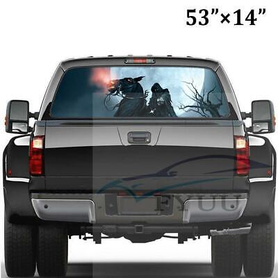 """14"""" x 53"""" Rear Window Grim Reaper Graphic Tint Decal Sticker For Truck Jeep SUV"""