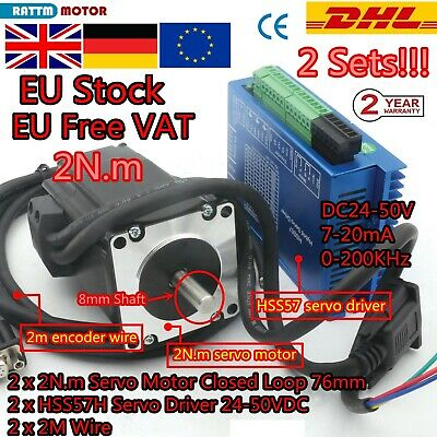 2x 2Phase 2NM Closed Loop Stepper Motor NEMA23 Drive Hybrid Servo Driver CNC【UK】