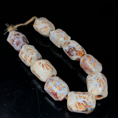 China Ancient Natural weathering Chicken bone White old agate Sculpture Bracelet