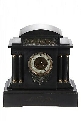 Large Victorian Architectural Marble Mantle Clock