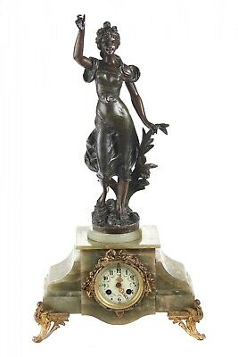 Antique French Green Onyx Mantle Clock