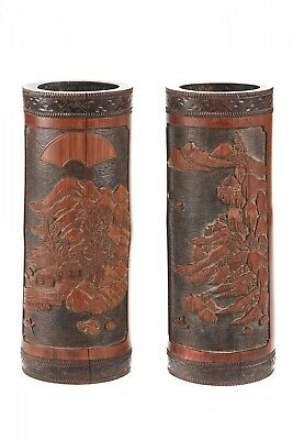 Antique Pair of Chinese Brush Pots
