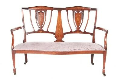 Antique Edwardian Mahogany And Rosewood Inlaid Settee