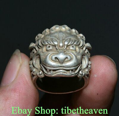 3CM Old Chinese Miao Silver Dynasty Palace Lion Beast Luck Ring Rings