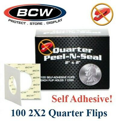 100 BCW Peel N Seal Self Adhesive 2x2 Quarter Coin Flips Holders 24.9mm Archival
