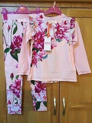 BNWT B By Ted baker Girls Luxury Pink Floral pyjamas sleepwear-7-8 Yrs NEW