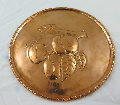 Antique Plate Copper Handcrafted a Embossed Sweden Scandanavia First `S R10