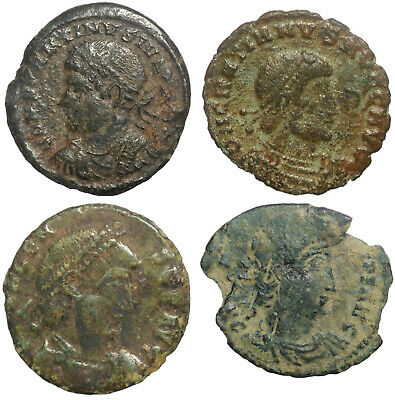 Four Ae Late Roman Coins Including Rare Constantius Ii Rome Issue