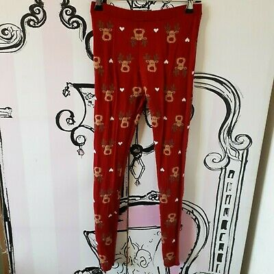 Girls Age 8 9 10 Years Pepperts Rudolph Reindeer Christmas Leggings Red Knit