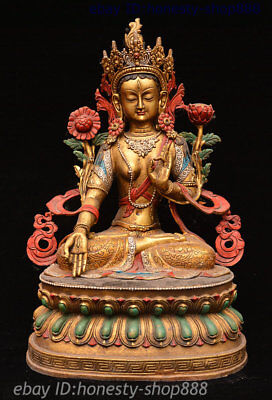 "14"" Tibet Bronze Drawing Color 7 eyes White Tara spirit of Compassion God Statue"