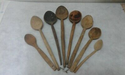 Old Antique Primitive Wooden Handmade Carved Spoons - Set Of 8