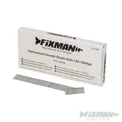 Fixman Galvanised Smooth Shank Nails 18G 5000pk 12 x 1.25mm