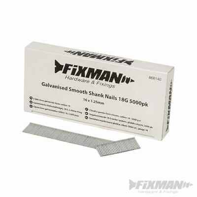 Fixman Galvanised Smooth Shank Nails 18G 5000pk 16 x 1.25mm