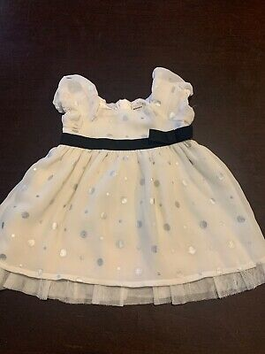 Old Navy Infant Girl Dress 0-3 Months White Silver Polka Dots  Christmas Holiday
