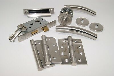 Arched T Door Handle Pack 3 lever Lock Set with Hinges FOR 45MM FIRE DOOR