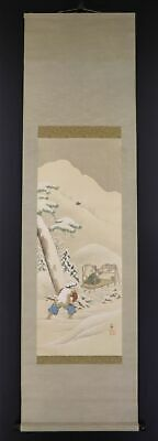 JAPANESE HANGING SCROLL ART Painting Scenery Asian antique  #E9783