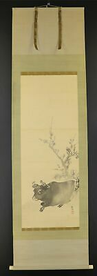"""JAPANESE HANGING SCROLL ART Painting """"Cow"""" Asian antique  #E9784"""