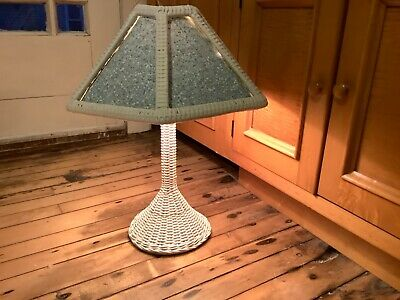 Antique Shabby Chic White Wicker Mission Table Lamp Excellent Vintage Condition