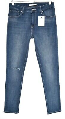 Womens Levis HIGH RISE SKINNY 721 Blue Ripped Soft Stretch Jeans 12 W31 L32