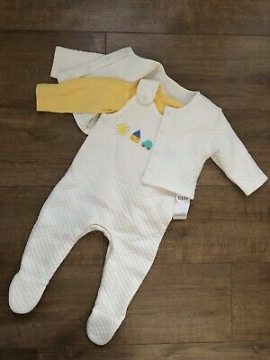 New Marks & Spencer Baby Boys 3pcs Outfit Bodysuit Trousers Top Size 3-6 Months