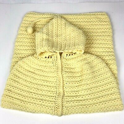 Vintage 1970s Baby Sleep Sack Infant Cocoon Hand Knit One Size Yellow Hooded