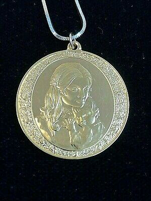 Franklin Mint 1974 Mother's Day Gold over Sterling Pendant Danecraft Necklace