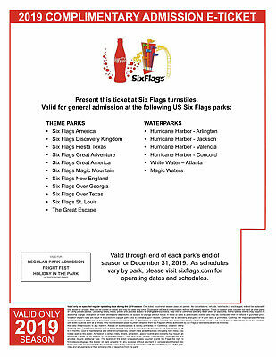 Four (4) Six Flags Single Day General Admission Tickets valid during 2019 Season