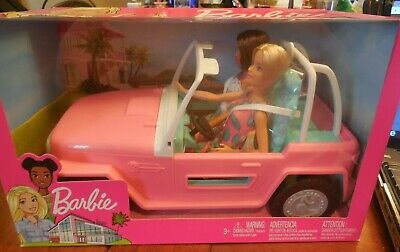 Barbie Doll and Pink Glam Convertible Car Jeep Set, Includes 2 Dolls and Jeep