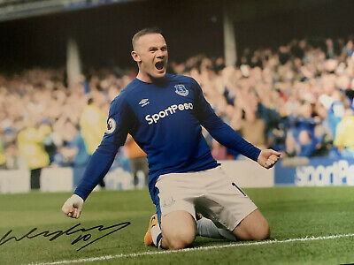 WAYNE ROONEY SIGNED EVERTON 16x12 Photograph Great Value £29.99 With Coa