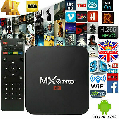 UK TV BOX SMART Android 7.1 2019 4K MXQ Pro WiFi HDMI Quad Core 60FPS Keyboard
