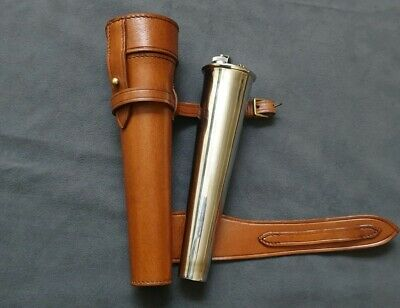 NEW BROWN SADDLE HIP STEEL FLASK /& THICK LEATHER CASE BATON FOX HUNTING