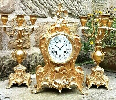 A Fine Antique 3 Pc Ormolu Clock Set By The French Maker A Chapus C1850 -Vg Cond
