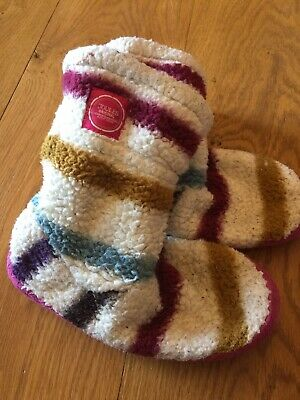 Junior Joules Fluffy Stripe Slippers Slipper Boots Large 1-3 Girls