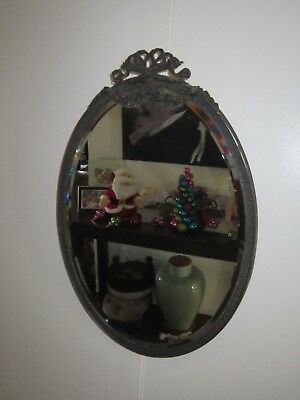 Beautiful Rare Antique Vintage Art Deco Metal Framed Oval Mirror