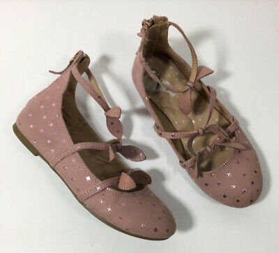 CAT & JACK Girls Size 2 Pink Sparkly Star Dress Shoes 3 Strap With Bow Back Zip