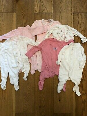 Baby Girls Body Suits X7 Aged 0-3 Months, Mainly M&S And Mothercare