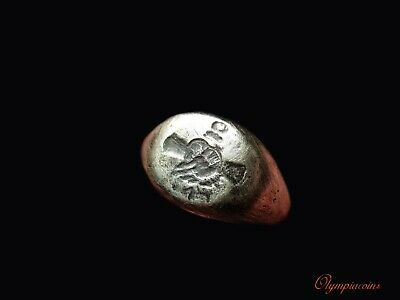 ** AMAZING ** Ancient Roman  SILVER  Ring ** CLASPED HANDS & CADUCEUS **