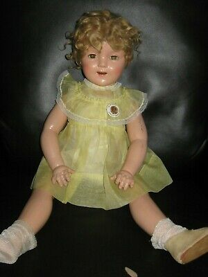 "Vintage 27"" Big Ideal Shirley Temple Composition Doll Antique 1930'S"