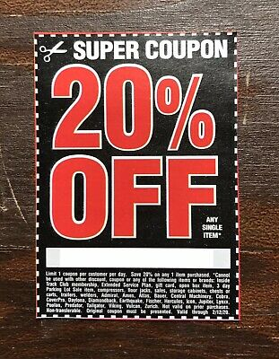 (1) Harbor Freight 20% Off Discount Coupon - Home Depot, Lowe's! Exp. 2/12/20