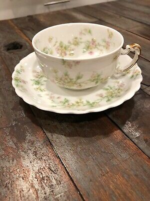 Antique Haviland & Co Limoges France Delicate Pink Rose Cup & Saucer