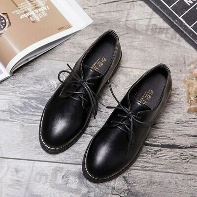 1 Pair of Women Lace-up Shoes Comfortable Non-slip Black Leather Shoes for Girls