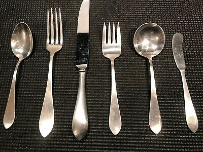 Antique Frank M. Whiting 6 Piece Place Setting Sterling Silver Flatware 'Adams'