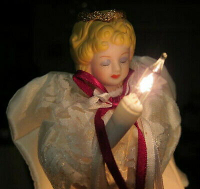 "Christmas Angel, Christmas Tree Topper - Gorgeous Lit Angel, 9"" high, Table Top"