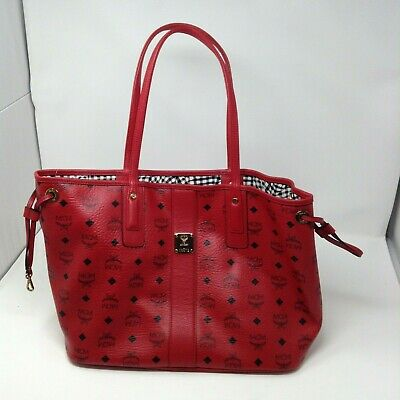 NEW Authentic MCM  Reversible Liz Shopper tote bag Red