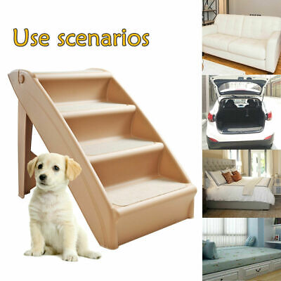 Folding Pet Stairs for Small Dog Puppy 4 steps Ladder Ramp for High Bed  Indoor